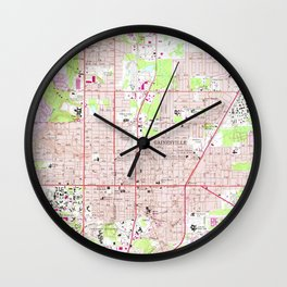 Vintage Map of Gainesville Florida (1966) Wall Clock