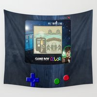 gameboy Wall Tapestries featuring Retro Tardis Doctor Who Nintendo Gameboy iPhone 4 4s 5 5c, ipod, ipad, tshirt, mugs and pillow case by Three Second