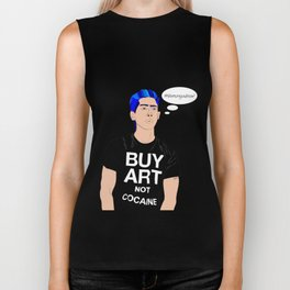 Buy Art, Not Cocaine - Dude with Blue Hair Typography Digital Drawing Biker Tank