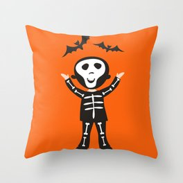 skeleton boy Throw Pillow