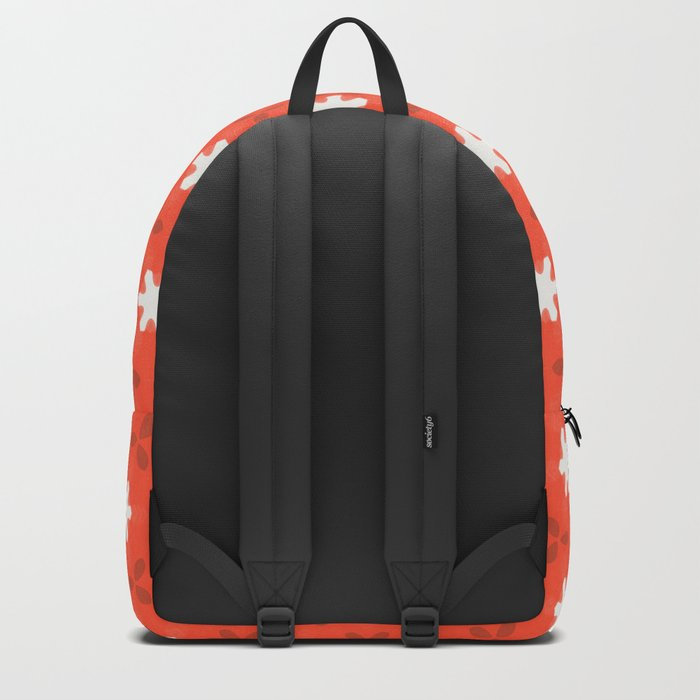 white star on red pattern Backpack