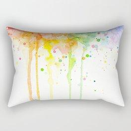 Watercolor Rainbow Splatters Abstract Texture Rectangular Pillow