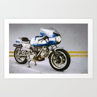 ducati Art Prints featuring Ducati 750SS by pixelsandwheels
