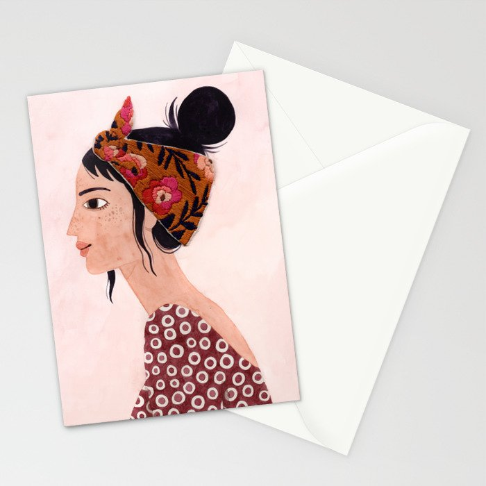 Embroidered scarf Stationery Cards