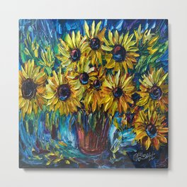 Sunflowers Palette Knife Metal Print