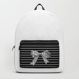 Polka Dot Bow + White Pinstripe Backpack