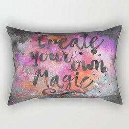Create Magic handlettering colorful watercolor art Rectangular Pillow