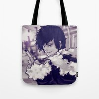 durarara Tote Bags featuring The Hedonistic Informant by Jessica Ciani