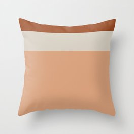 Minimalist Color Block Triple Stripe in Apricot, Rust, and Taupe Throw Pillow