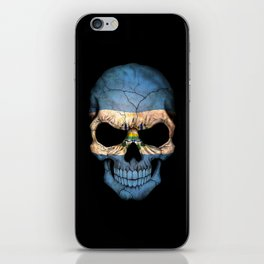 Dark Skull with Flag of El Salvador iPhone Skin