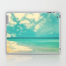Waves of the sea (retro beach and blue sky) Laptop & iPad Skin