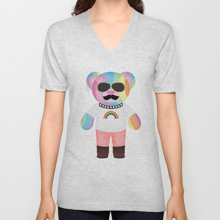 Punk Rainbow Bondage Bear Full Unisex V-Neck