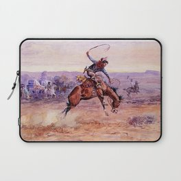 """Bucking Bronco"" by Charles M Russell Laptop Sleeve"