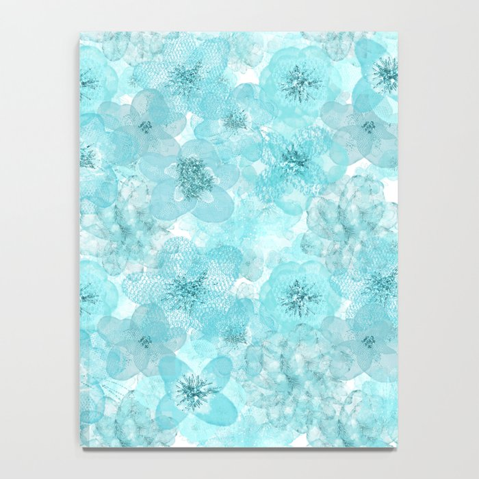 Turquoise aqua flower lace pattern Notebook