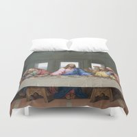da vinci Duvet Covers featuring The Last Supper by Leonardo da Vinci by Palazzo Art Gallery
