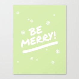 Bright Lime Green Be Merry Christmas Snowflakes Canvas Print