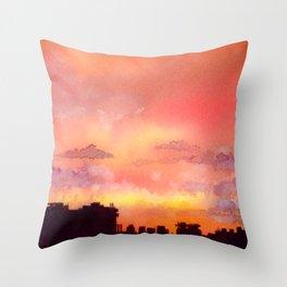 Minsk sunset skyline in watercolours Throw Pillow