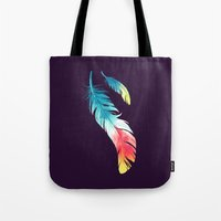 nursery Tote Bags featuring Feather by Freeminds