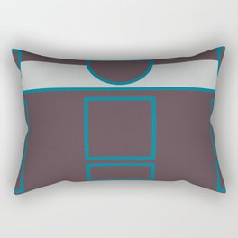 Abstract Geometric Composition - Brown Blue Grey Rectangular Pillow
