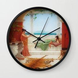 The Sweet Siesta of a Summer Day island landscape by John William Godward Wall Clock