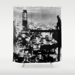 New Yorker Sitting On A Ledge Shower Curtain