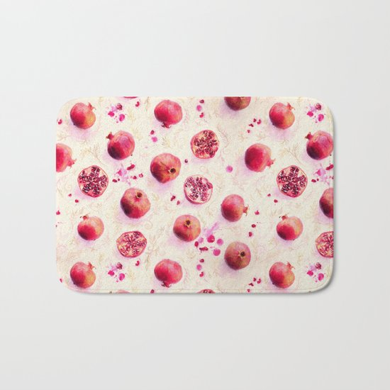 Painted Pomegranates with Gold Leaf Pattern Bath Mat