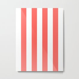Vertical Stripes - White and Pastel Red Metal Print