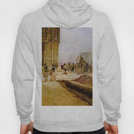 Rush Hour Traffic On The National Road 1850 by Rudolf von Alt   Reproduction Hoody