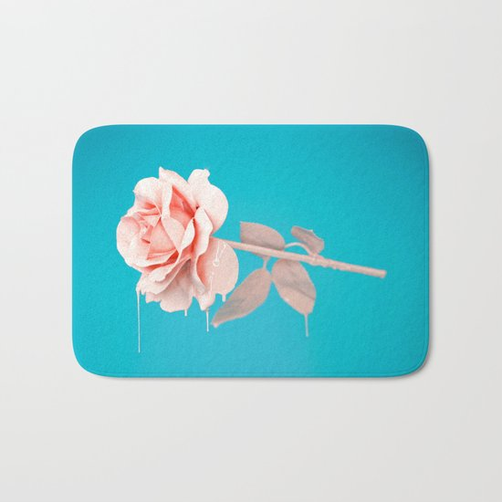 Pastel rose drip Bath Mat