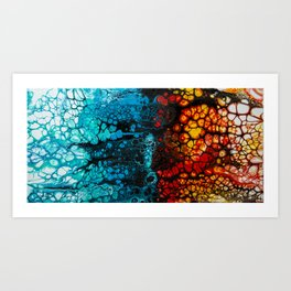 FIRE & ICE Acrylic Pour Painting Art Print