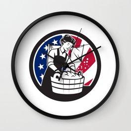 American Laundry USA Flag Icon Wall Clock