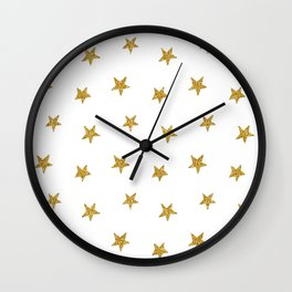Merry christmas-Stars shining brightly-Gold glitter pattern Wall Clock