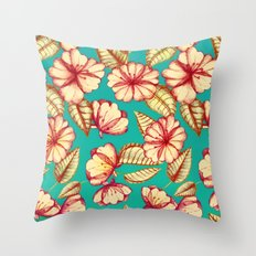 Retro style Rust & Teal Hand drawn Floral Pattern Throw Pillow
