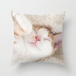 Sleeping baby orange and white tabby kitten Throw Pillow
