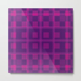 NOVELTY PLAID PATTERN WITH LAYERED RECTANGLES Metal Print