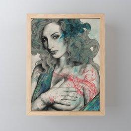 SGNL>05 (seminude street art portrait, topless lady with swan tattoo) Framed Mini Art Print