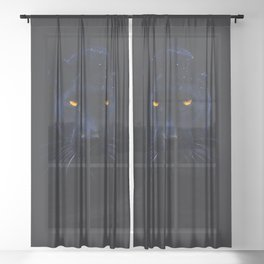 THE BLACK PANTHER Sheer Curtain