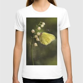 Yellow butterfly on lily of the valley flowers T-shirt