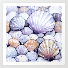 Sea Shells Amethyst Art Print