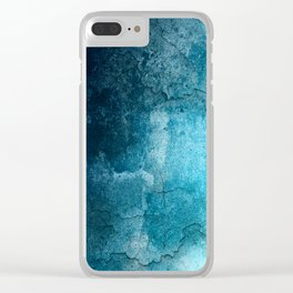 Aqua Teal Turquoise Textured Clear iPhone Case