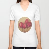 antique V-neck T-shirts featuring Antique Tulips by Jessica Torres Photography