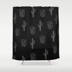 Cactus Pattern Black Shower Curtain
