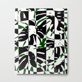 Checkered monstera jungle pattern - green black Metal Print