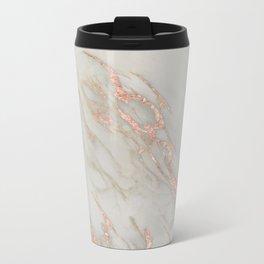 Marble - Rose Gold Marble Metallic Blush Pink Metal Travel Mug