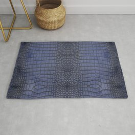 Cobalt Alligator Print Rug