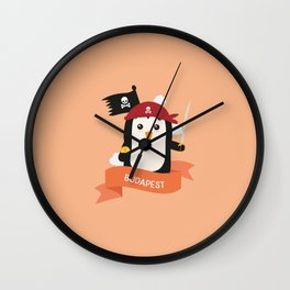 Pirate Pinguin from BUDAPEST T-Shirt for all Ages Wall Clock
