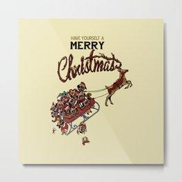 Pugs Christmas Metal Print