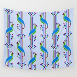 Vintage Art Deco Birds and Stripes Pattern 2 Wall Tapestry