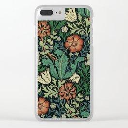 William Morris Compton Floral Art Nouveau Pattern Clear iPhone Case