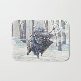 Wizard Riding an Elk in the Snow Bath Mat